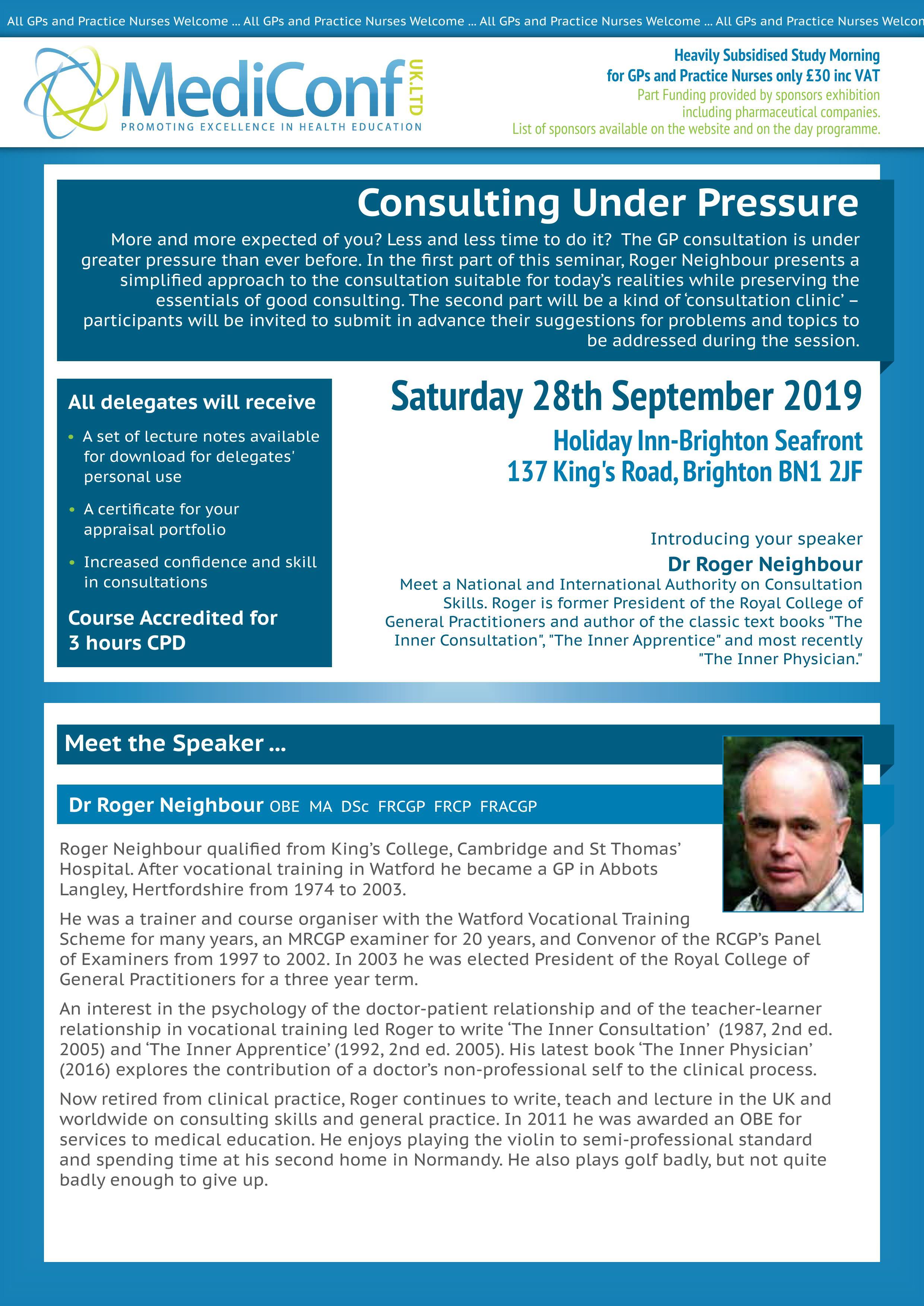 Consultation Skills: Consulting Under Pressure - 28 September 2019