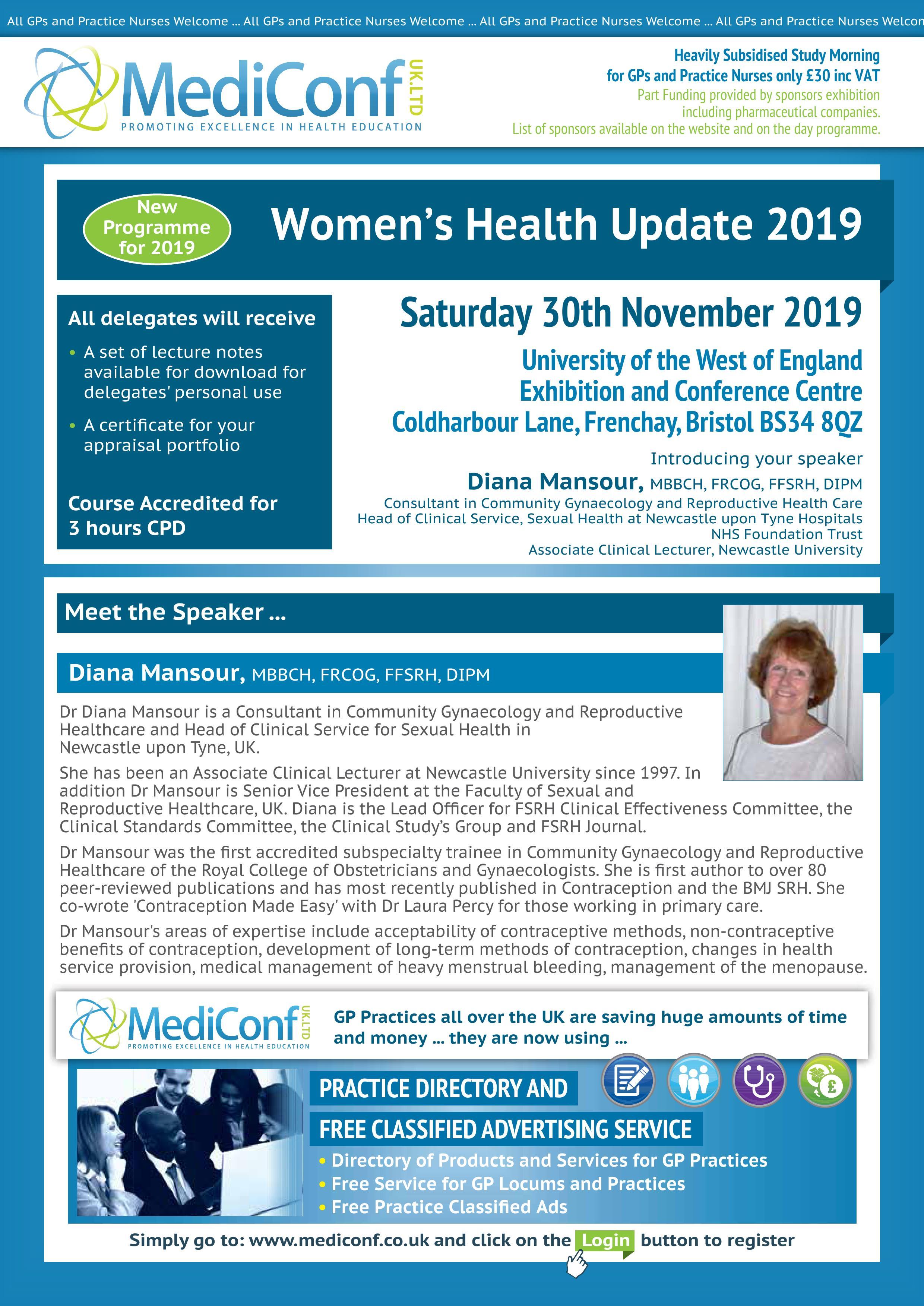 Women's Health Update 2019 - 30 November 2019 | MediConf