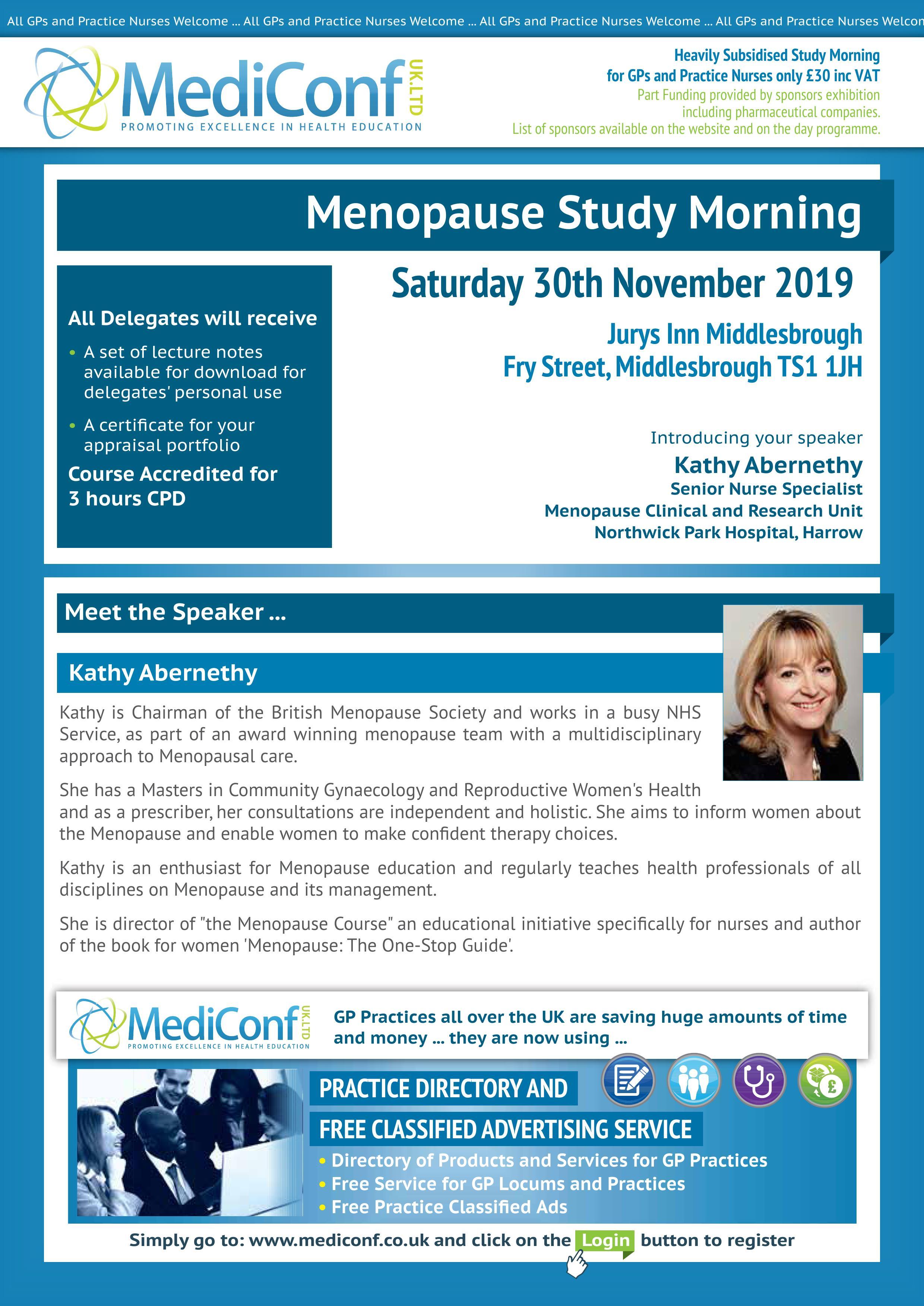 Menopause Study Morning - 30 November 2019 | MediConf